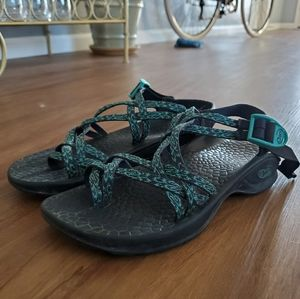 Black & Teal Chacos